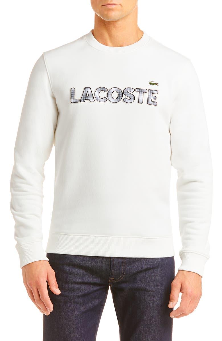 LACOSTE Logo Appliqué Crewneck Sweatshirt, Main, color, CAKE FLOUR WHITE