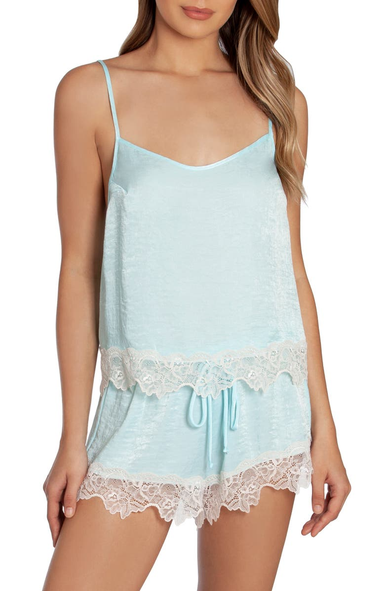 IN BLOOM BY JONQUIL Lovin' You Satin Short Pajamas, Main, color, AQUA