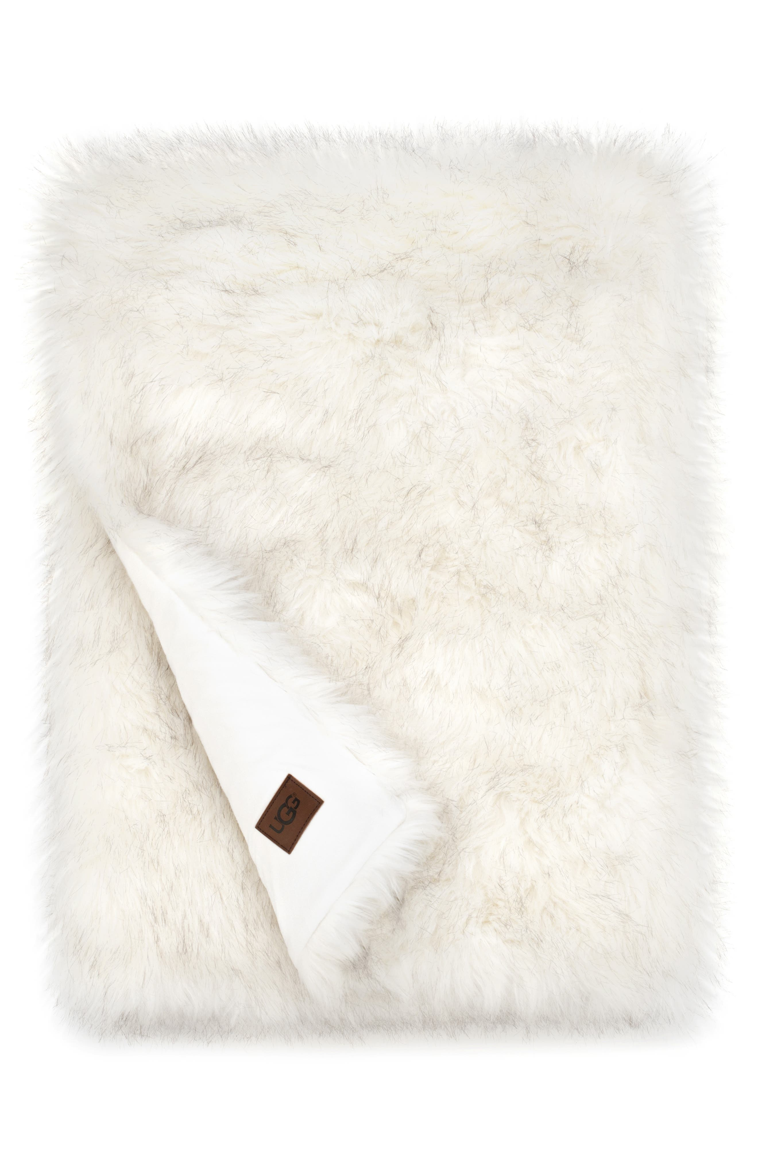 Blizzard Faux Fur Throw Blanket, Main, color, NATURAL