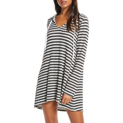 La Blanca Slouchy Hooded Sweater Cover-Up Tunic, Black (Nordstrom Exclusive)