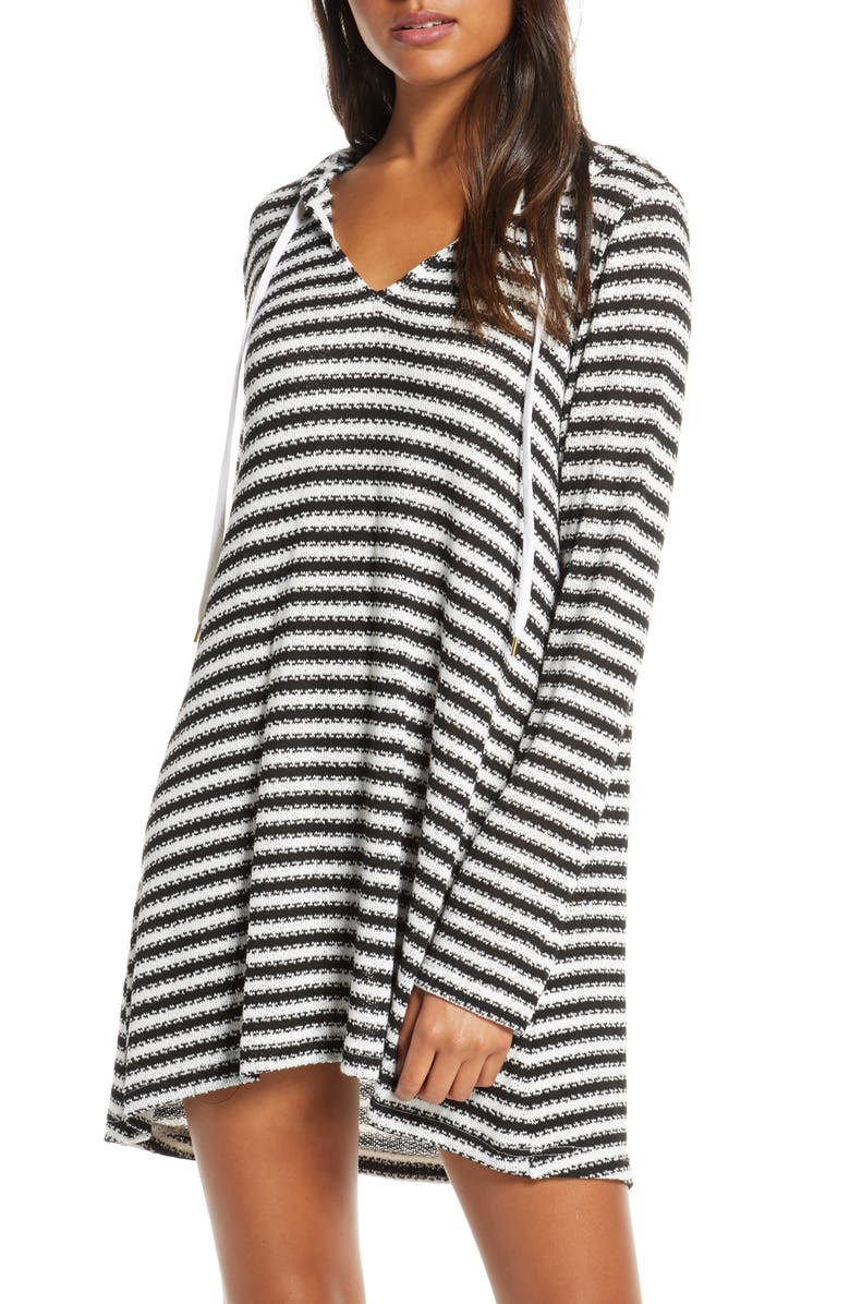 LA BLANCA Slouchy Hooded Sweater Cover-Up Tunic, Main, color, BLACK/ WHITE