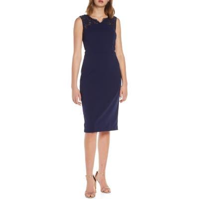 Vince Camuto Beaded Lace Sheath Dress, Blue