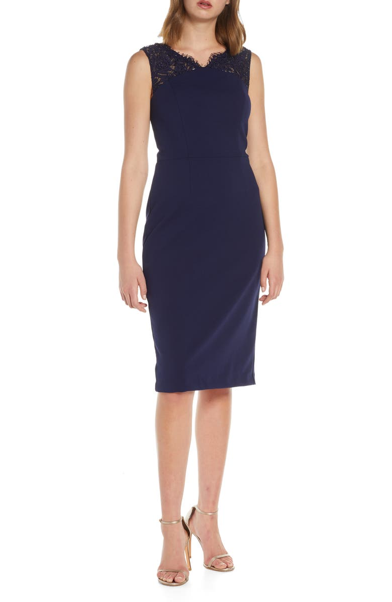 VINCE CAMUTO Beaded Lace Sheath Dress, Main, color, NAVY