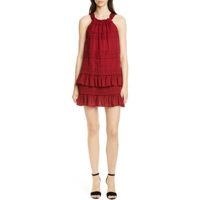 La Vie Rebecca Taylor Celia Ruffle Detail Cotton Shift Dress, Red