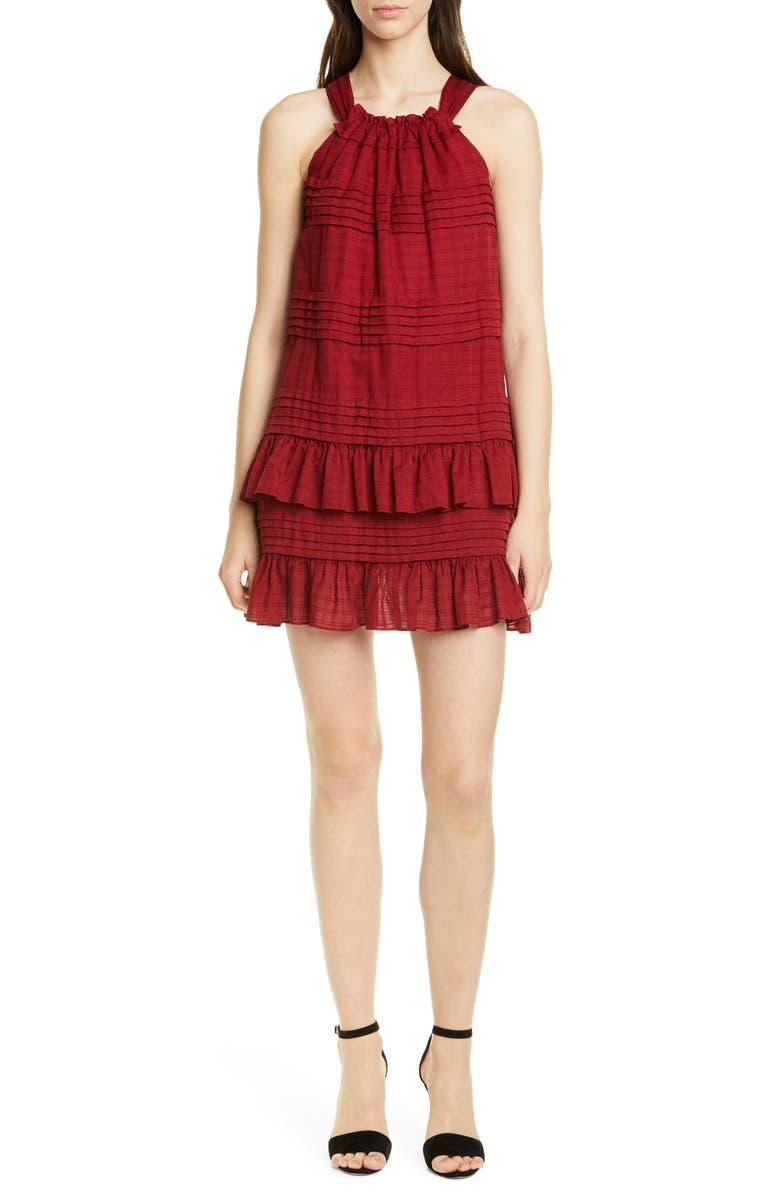 LA VIE REBECCA TAYLOR Celia Ruffle Detail Cotton Shift Dress, Main, color, RED CURRANT