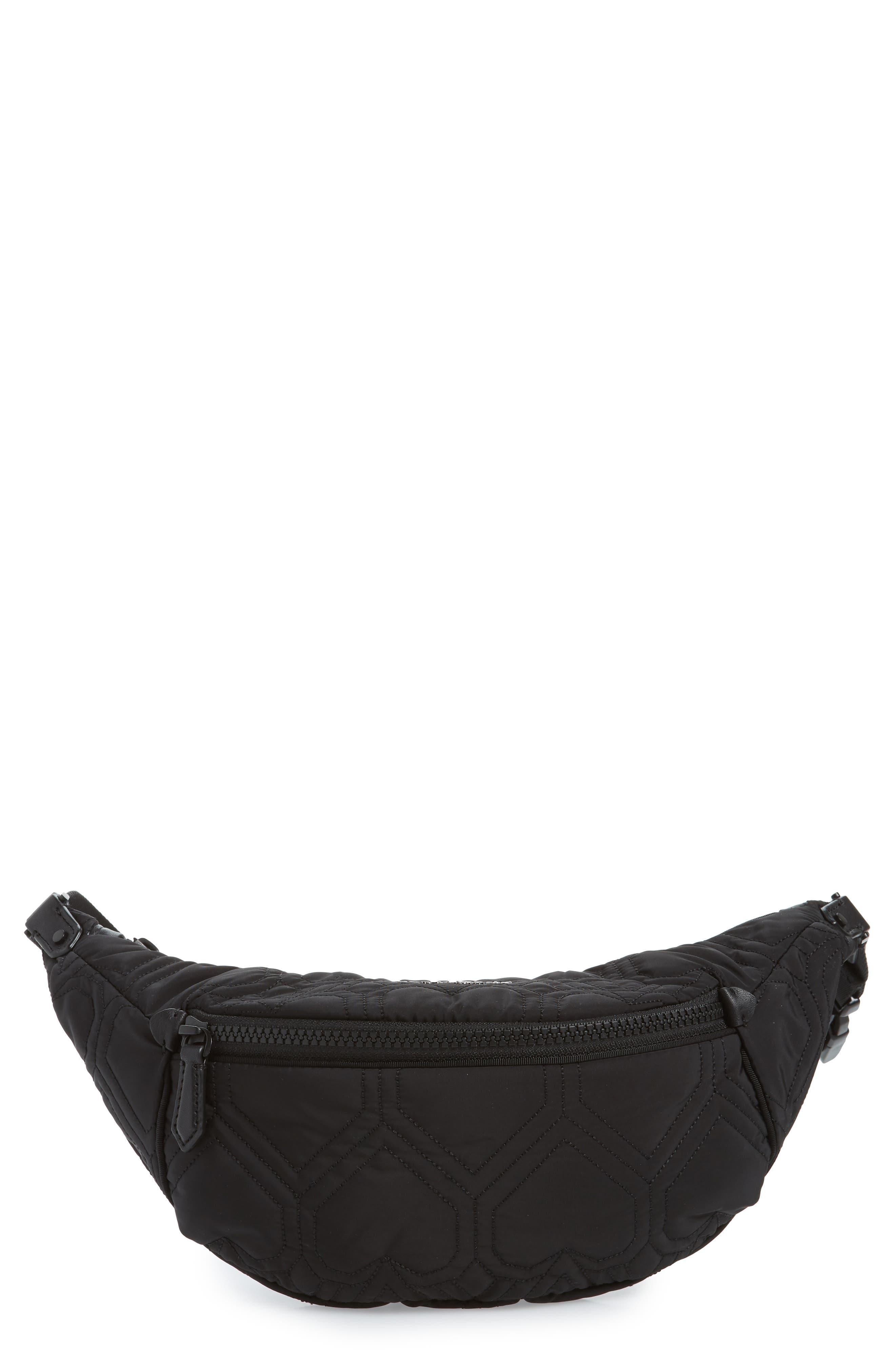 jayne heart quilted belt bag, Main, color, BLACK