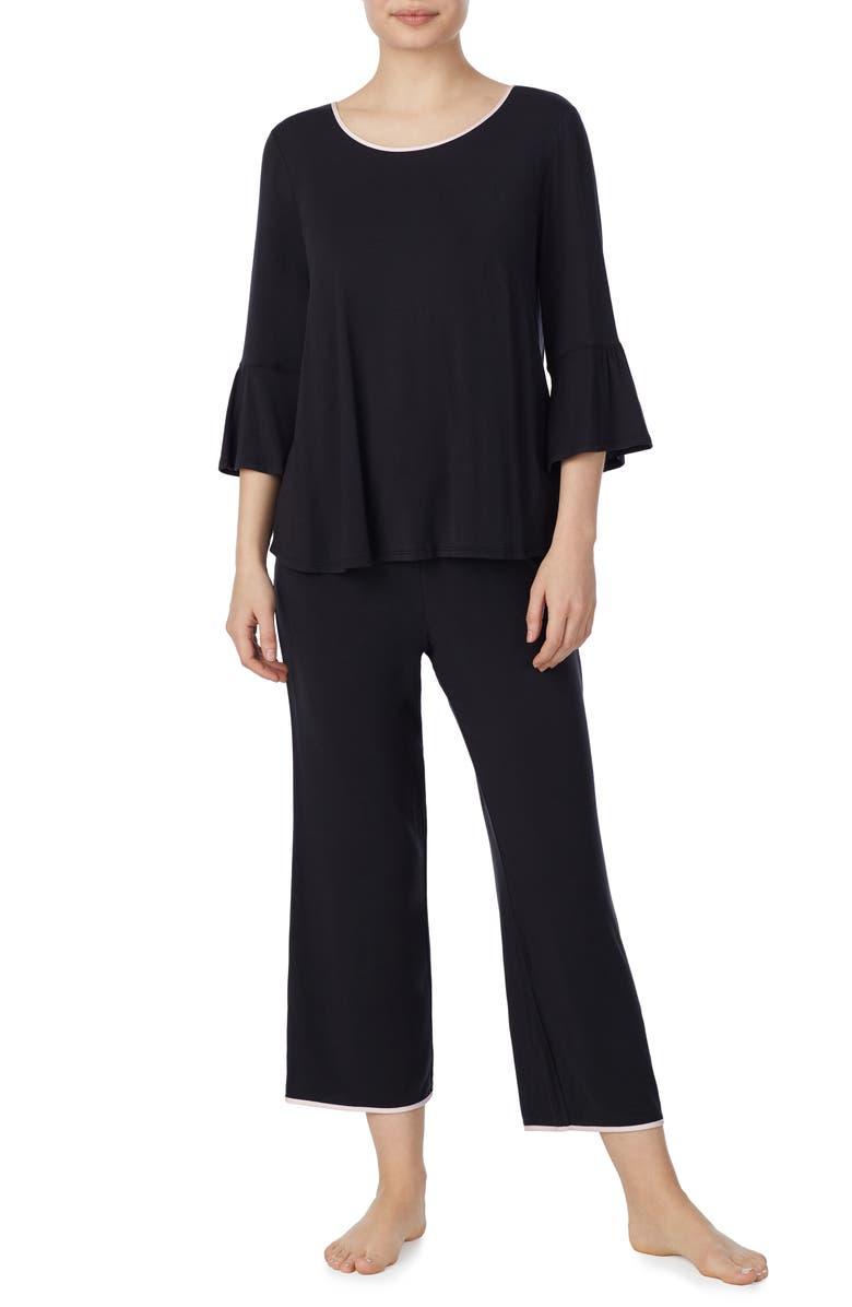 KATE SPADE NEW YORK bell cuff pajamas, Main, color, BLACK