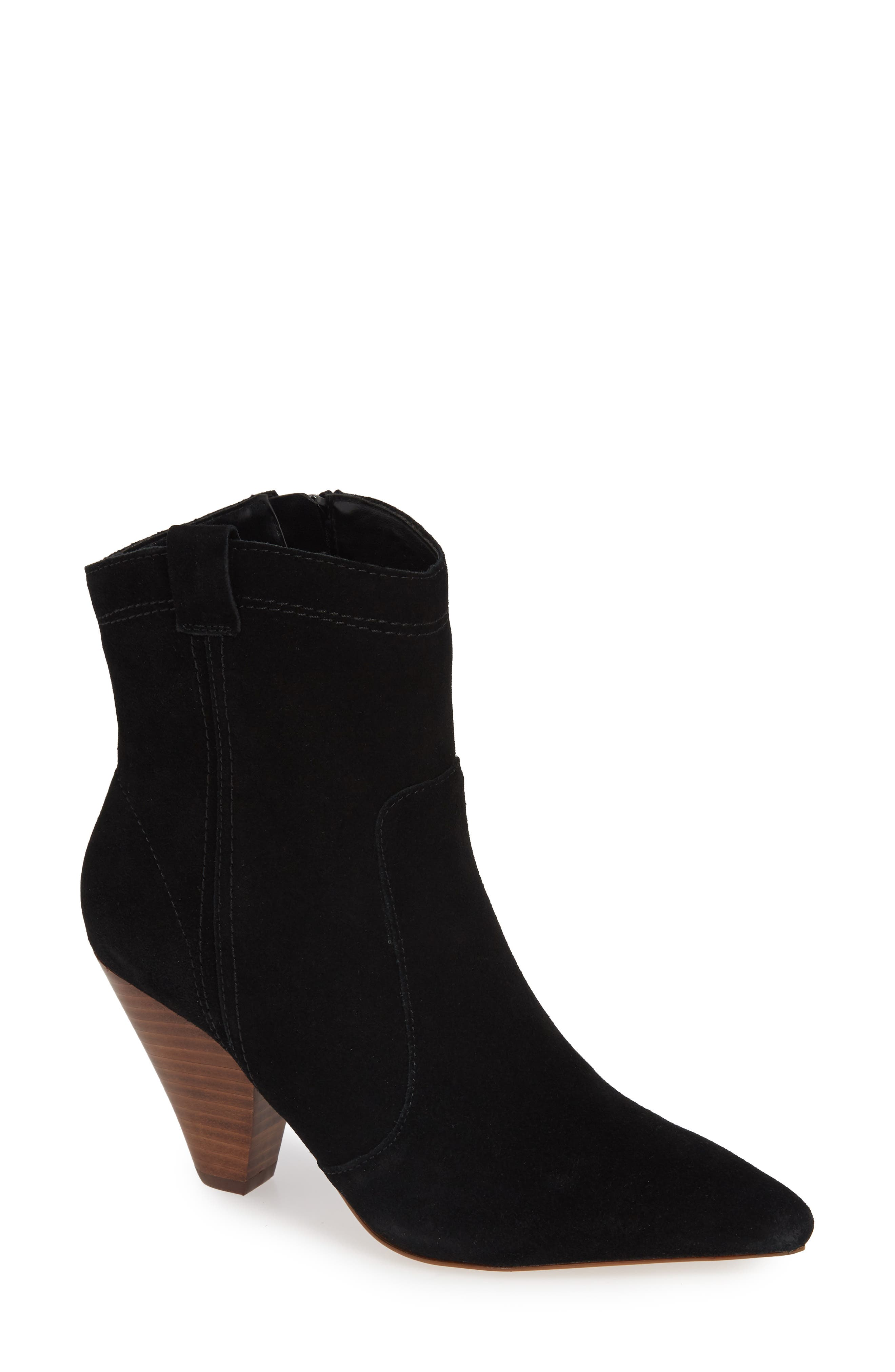 Kalila Pointy Toe Bootie, Main, color, BLACK SUEDE