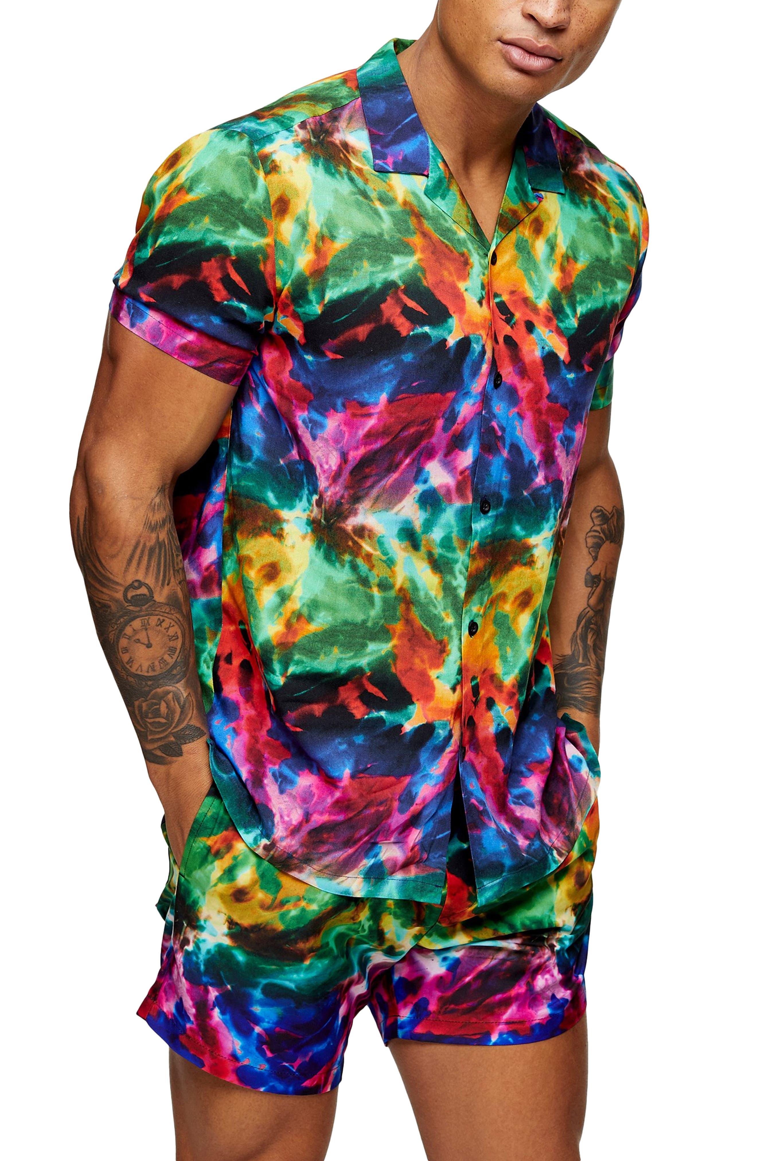 1960s Mens Shirts | 60s Mod Shirts, Hippie Shirts Mens Topman Pride Tie Dye Short Sleeve Button-Up Camp Shirt Size Large - None $27.00 AT vintagedancer.com