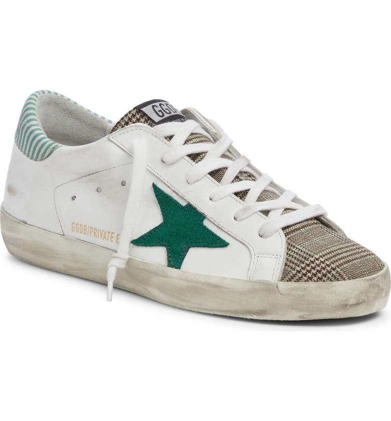 GOLDEN GOOSE Superstar Mixed Media Sneaker, Main, color, WHITE/ GREEN PLAID