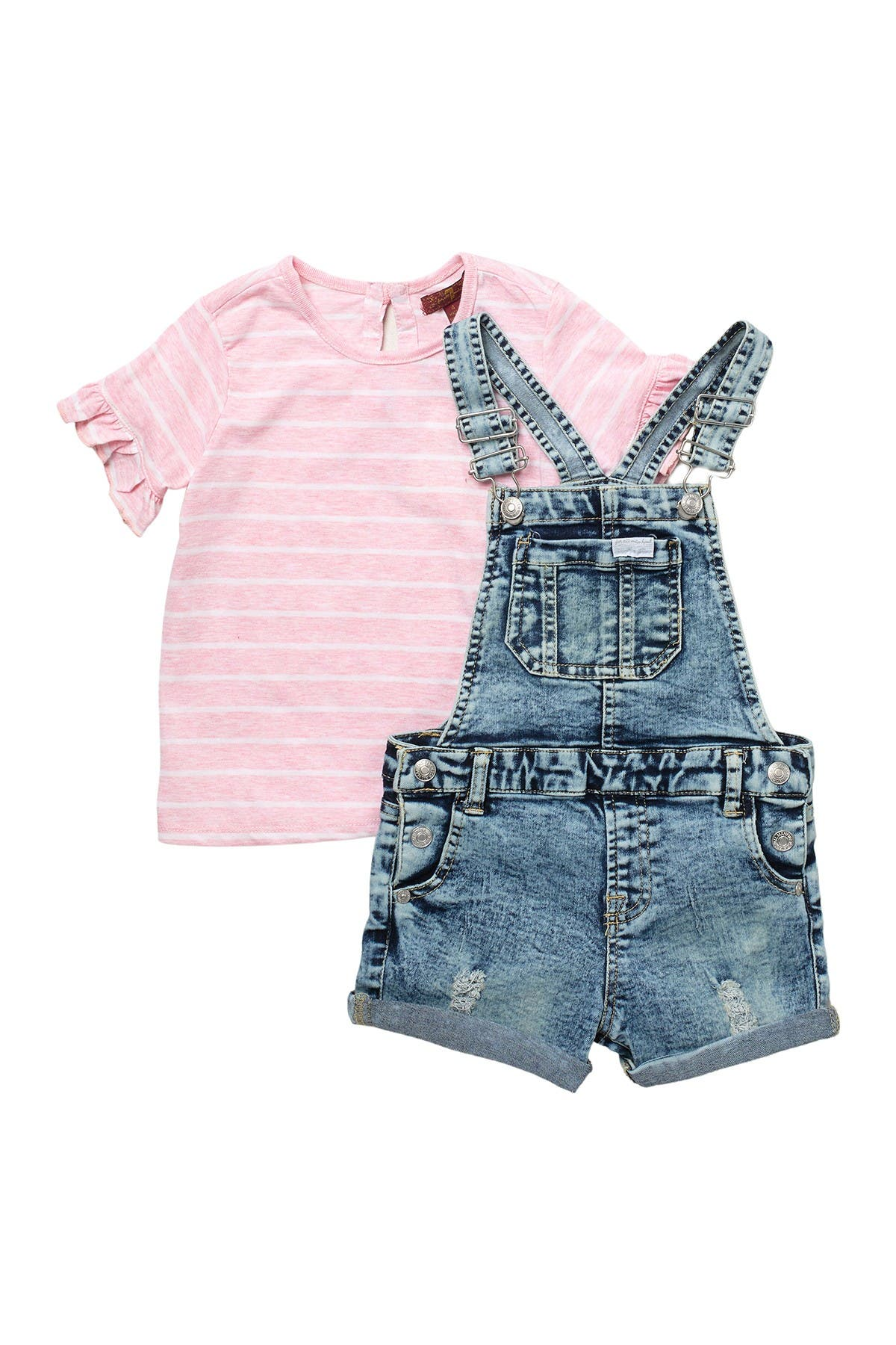 Image of 7 For All Mankind Stripe Ruffle Sleeve Top & Overalls