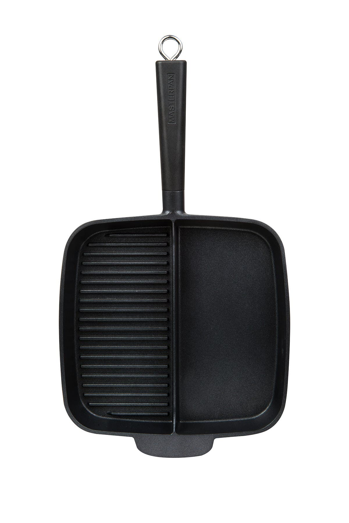 "Image of MASTERPAN Black Non-Stick 2 Section 11"" Meal Skillet"