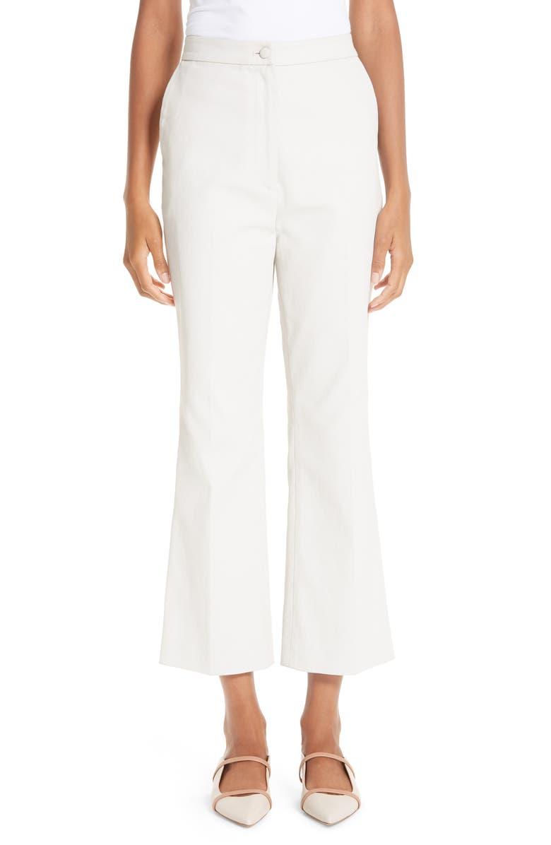 PARTOW Waxed Denim Crop Flare Pants, Main, color, 250