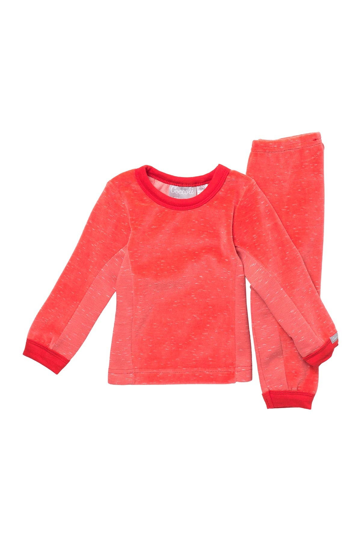 Image of Coccoli Cozy Velour Long Sleeve Top & Pants Pajama Set