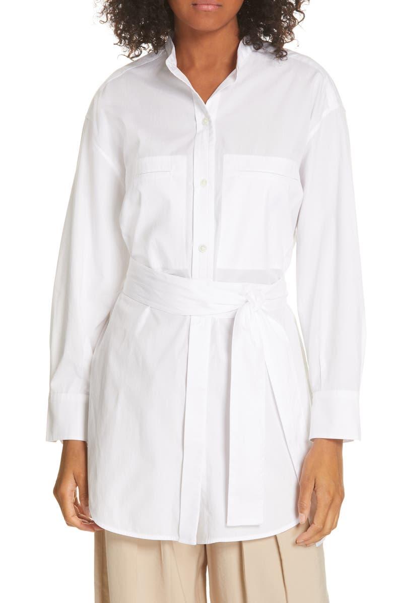 VINCE Belted Oversize Cotton Blouse, Main, color, 137