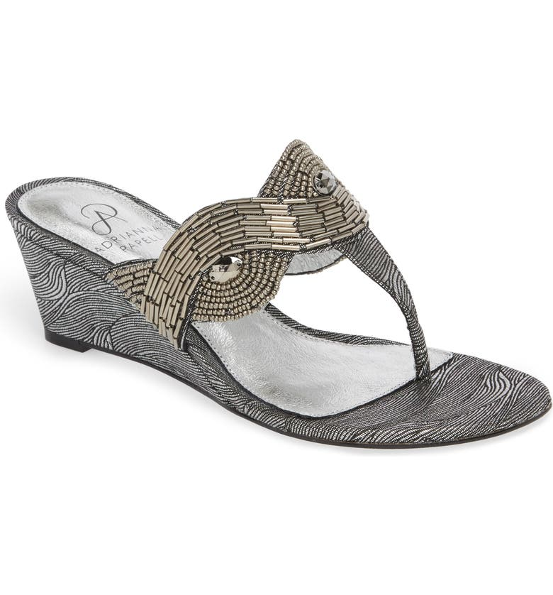 ADRIANNA PAPELL Coco Beaded Wedge Sandal, Main, color, 049