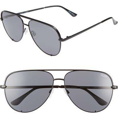 Quay Australia High Key 62mm Oversize Aviator Sunglasses - Black/ Smoke