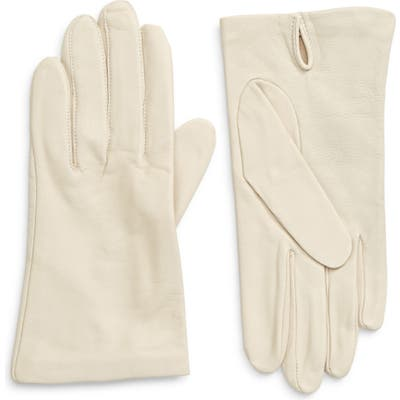 Nordstrom Lambskin Leather Gloves, Ivory