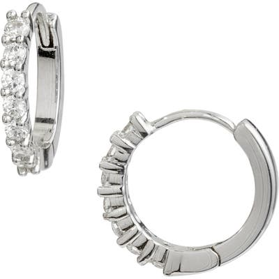 Nordstrom Pave Half Stone Huggie Hoop Earrings