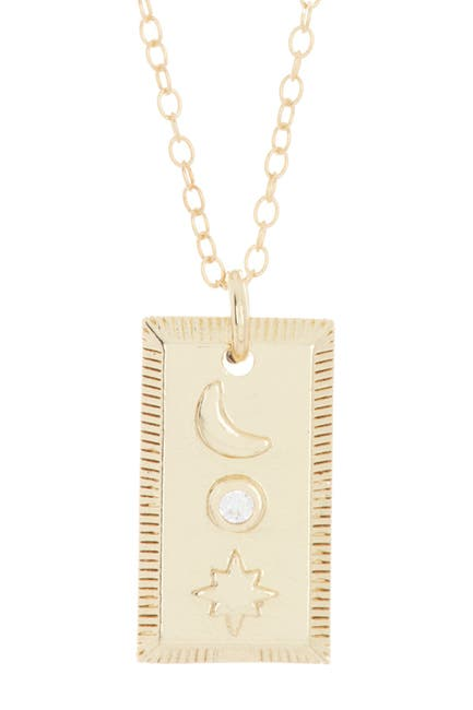 Image of ADORNIA 14K Gold Plated Sterling Silver Moon & Star Mini Tablet Pendant Necklace