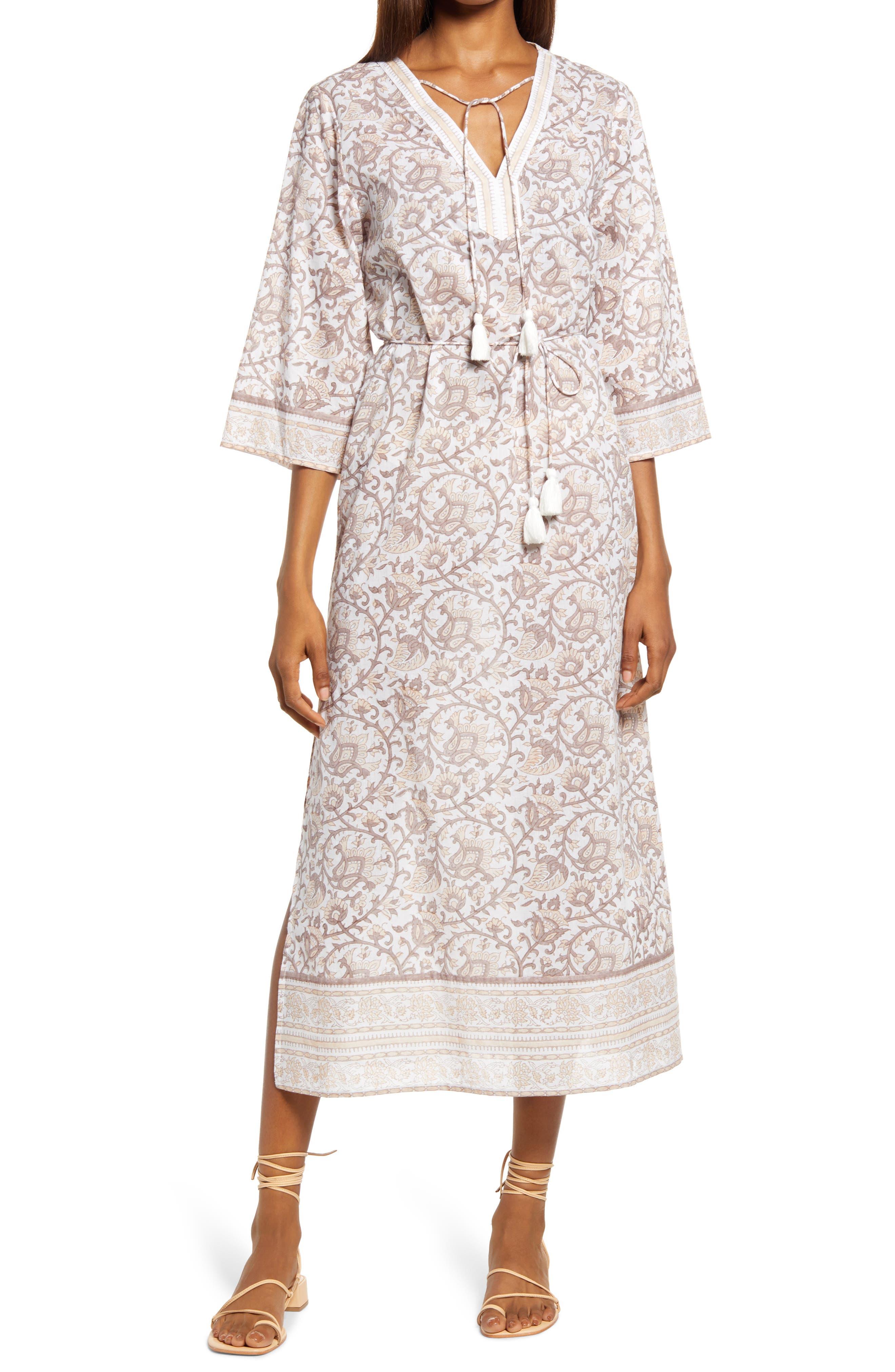 Isla Print Organic Cotton Caftan Dress