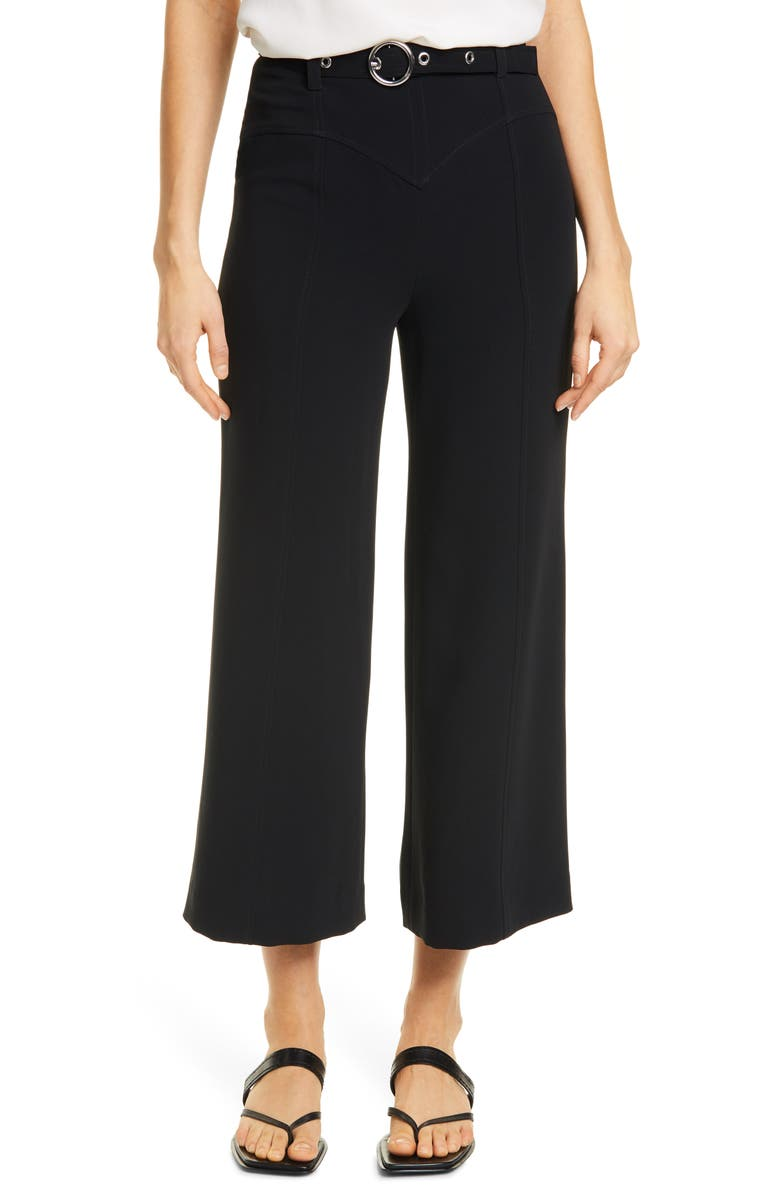 CINQ À SEPT Polly Belted Wide Leg Pants, Main, color, BLACK