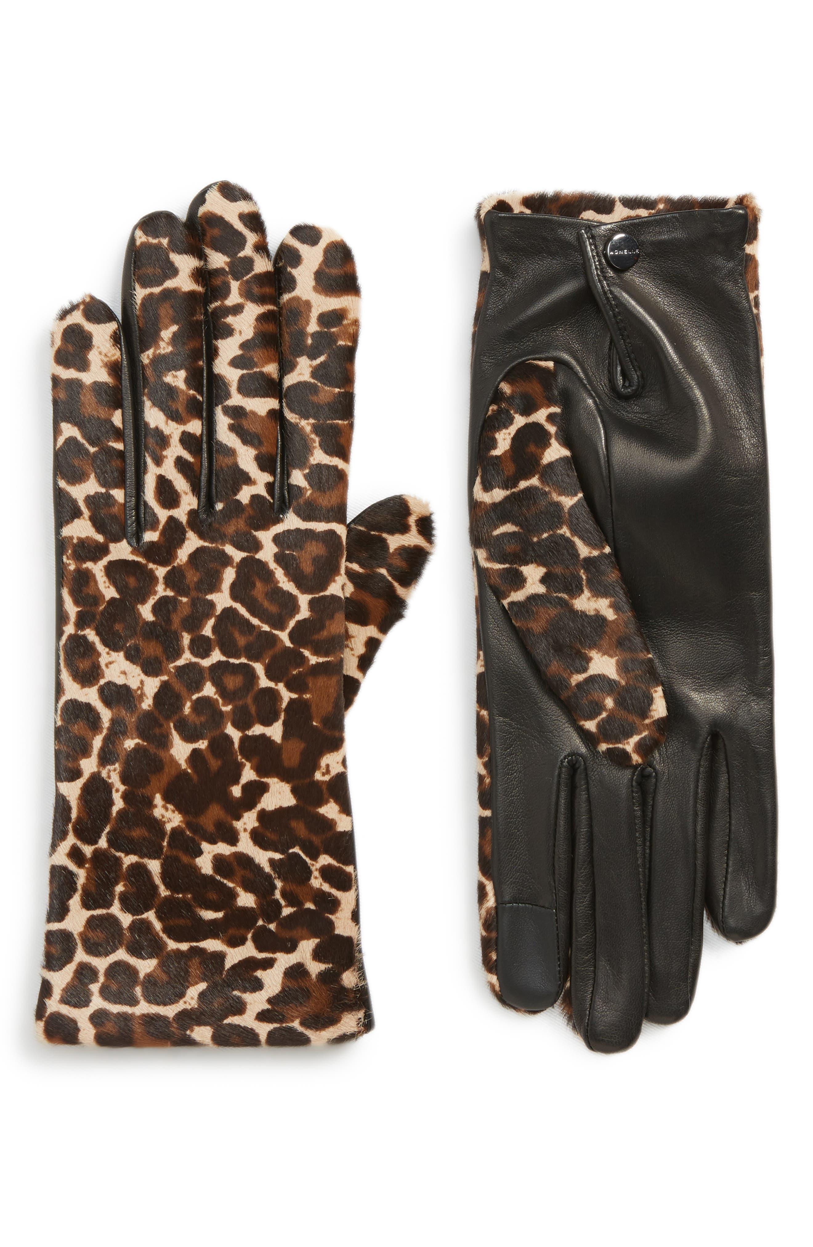 Agnelle Leopard Print Genuine Calf Hair & Lambskin Leather Gloves - Black