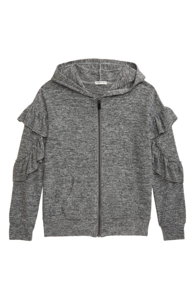 HABITUAL GIRL Kinsley Ruffle Hooded Sweatshirt, Main, color, GREY