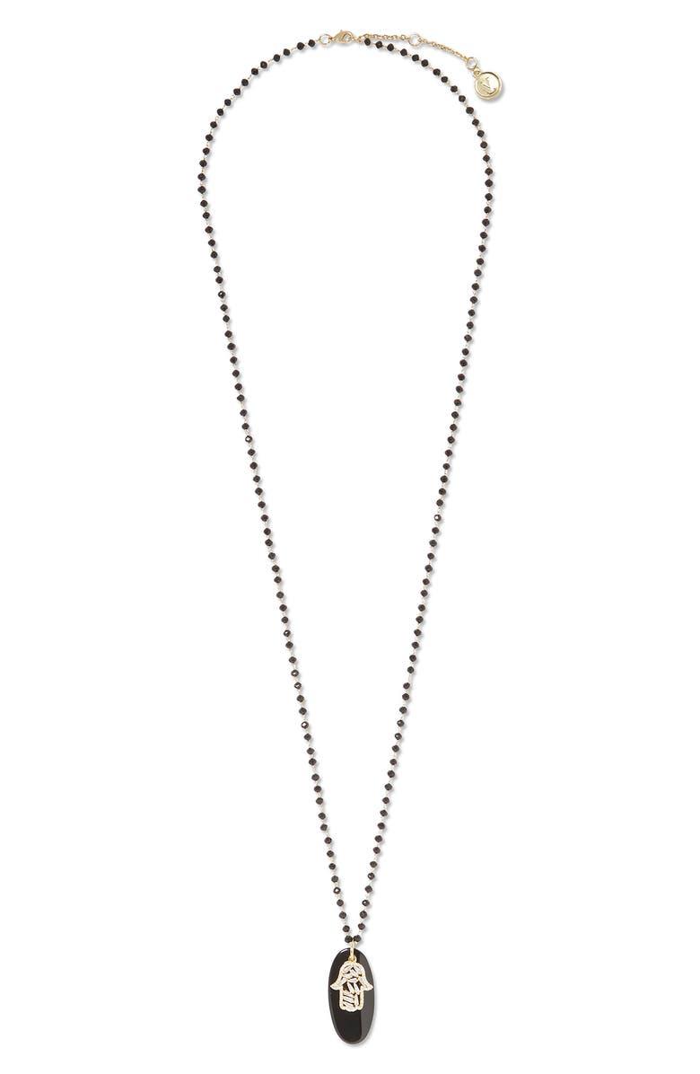 VINCE CAMUTO Hamsa Pendant Necklace, Main, color, 001
