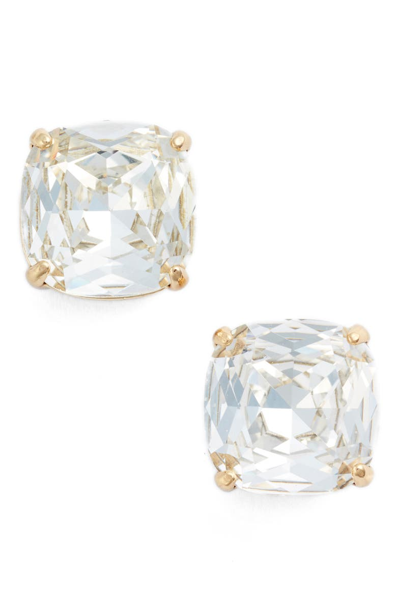 KATE SPADE NEW YORK small stud earrings, Main, color, CLEAR CRYSTAL/ GOLD
