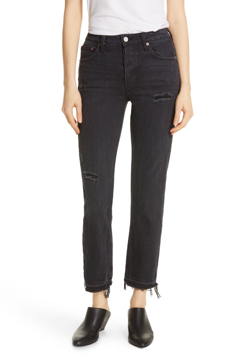 TRAVE Constance High Waist Release Hem Jeans, Main, color, ROAD TO NOWHERE
