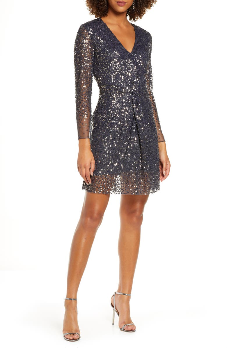 FRENCH CONNECTION Emille Sparkle Long Sleeve Sequin Sheath Dress, Main, color, 001