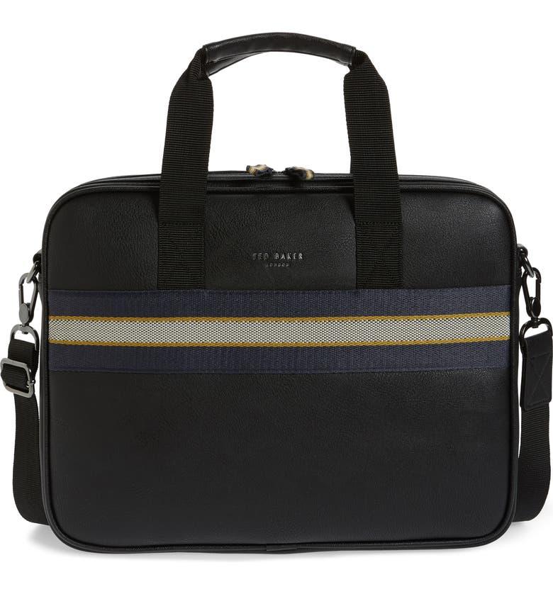 TED BAKER LONDON Sandar Faux Leather Document Bag, Main, color, 001