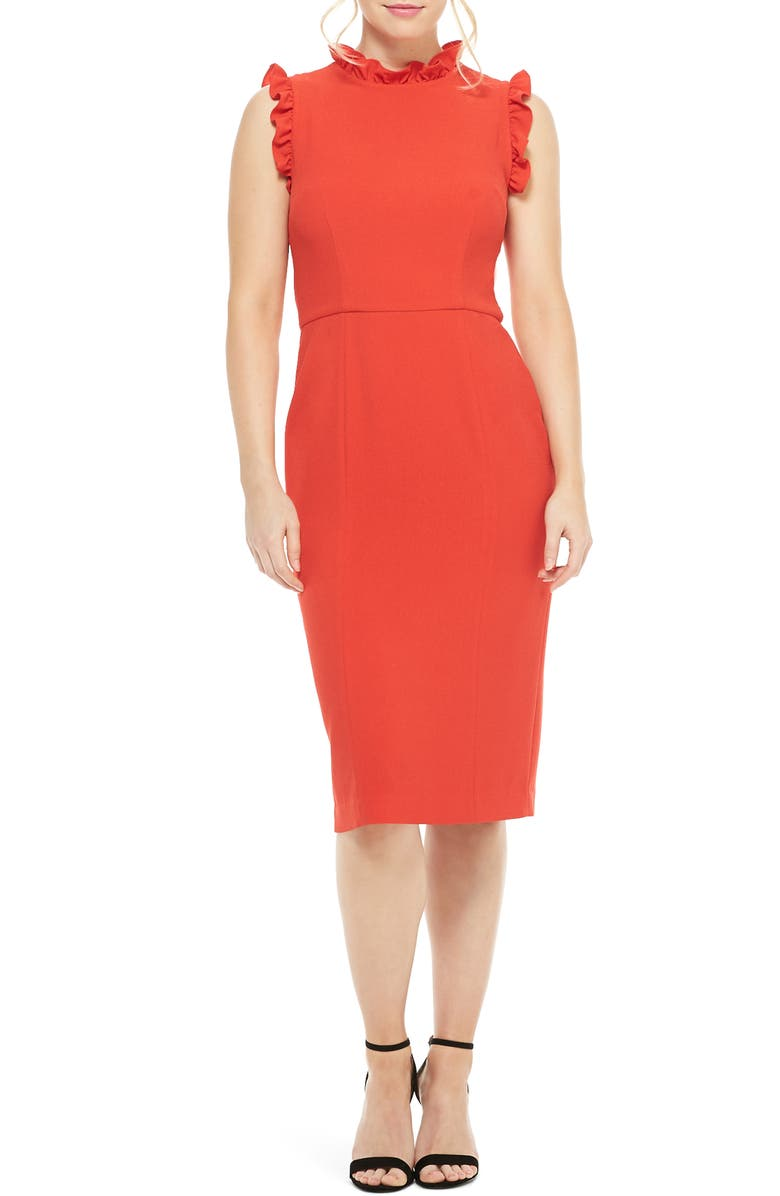 MAGGY LONDON Charlene Ruffle Trim Crepe Sheath Dress, Main, color, CARNIVAL RED
