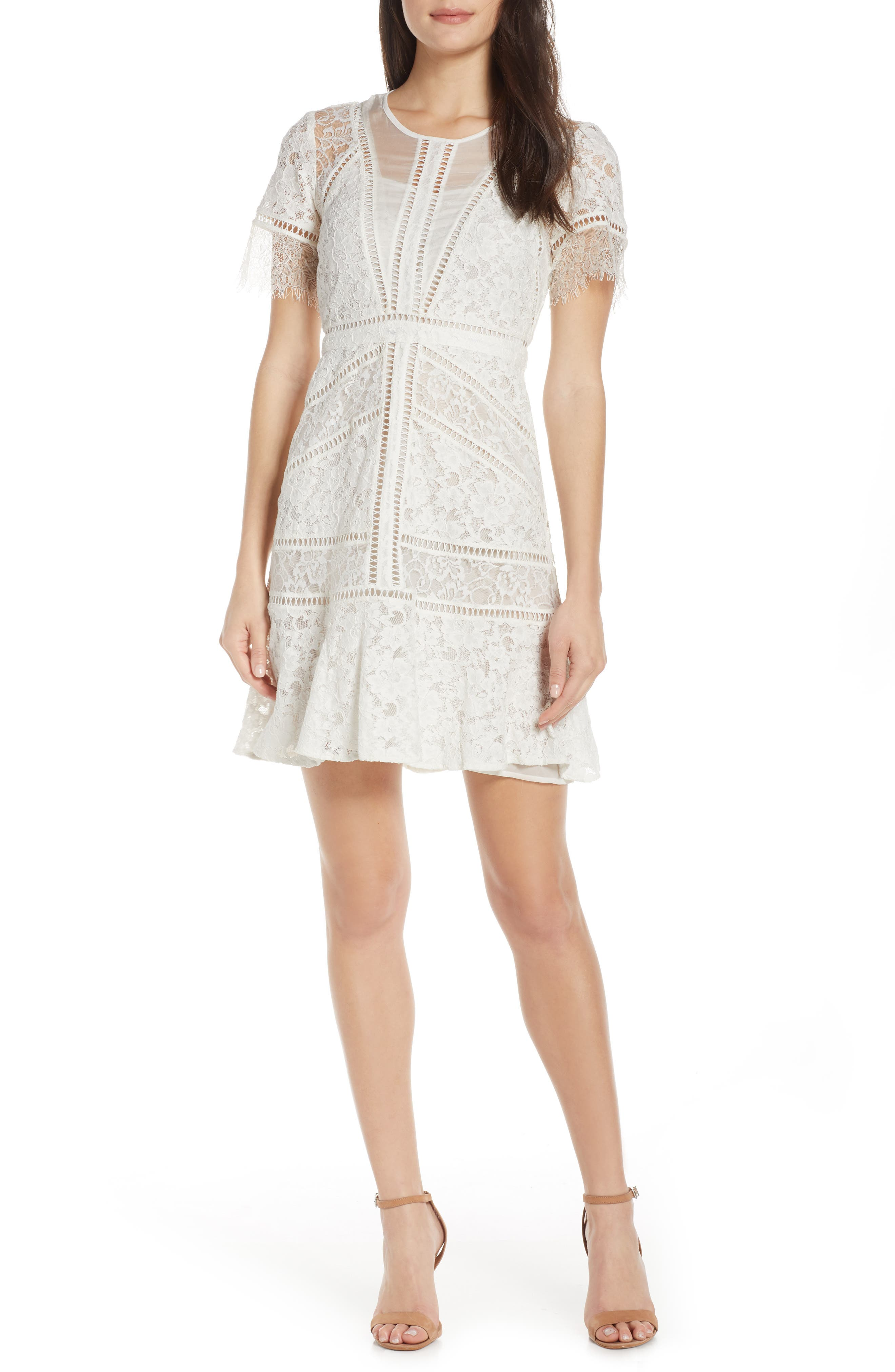 French Connection Chante Lace Minidress, White