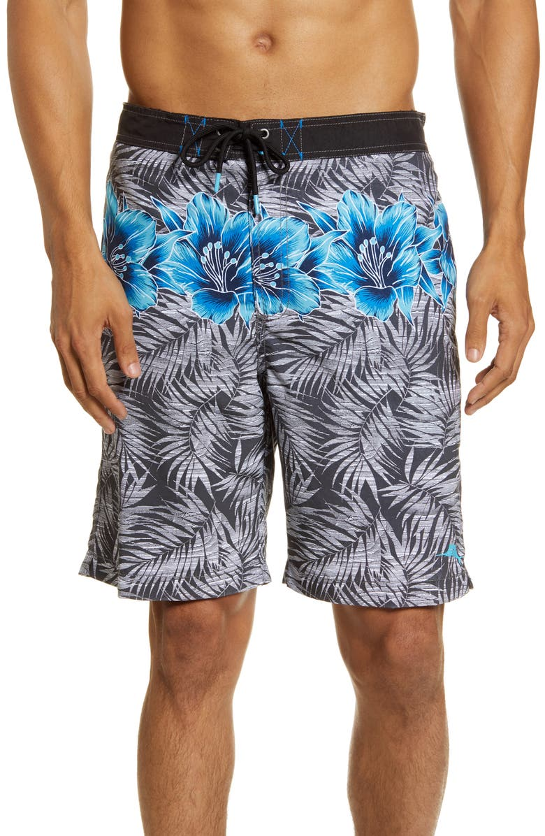 TOMMY BAHAMA Baja Hibiscus Row Board Shorts, Main, color, FOG GREY