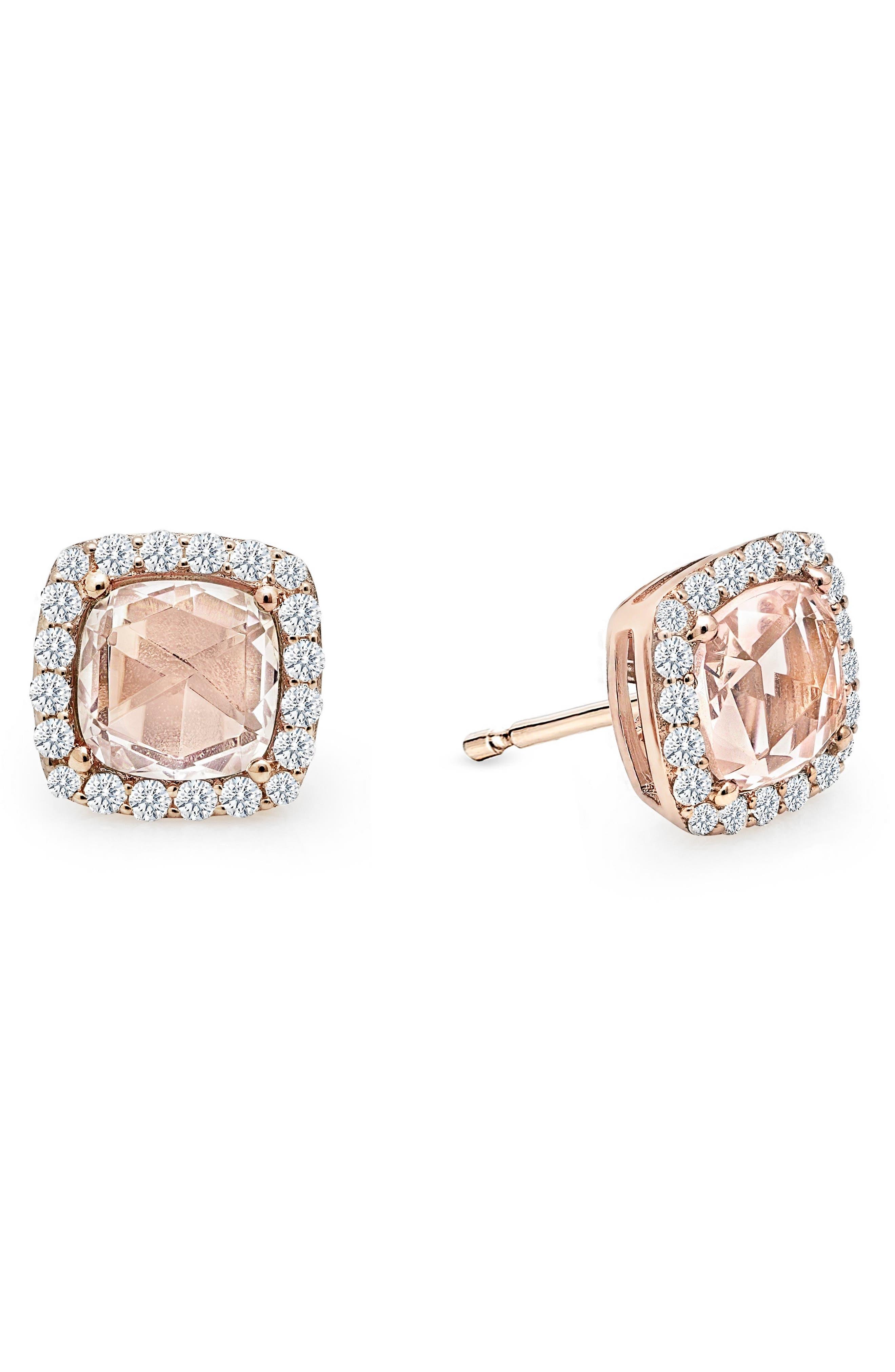 Simulated Diamond & Simulated Morganite Stud Earrings