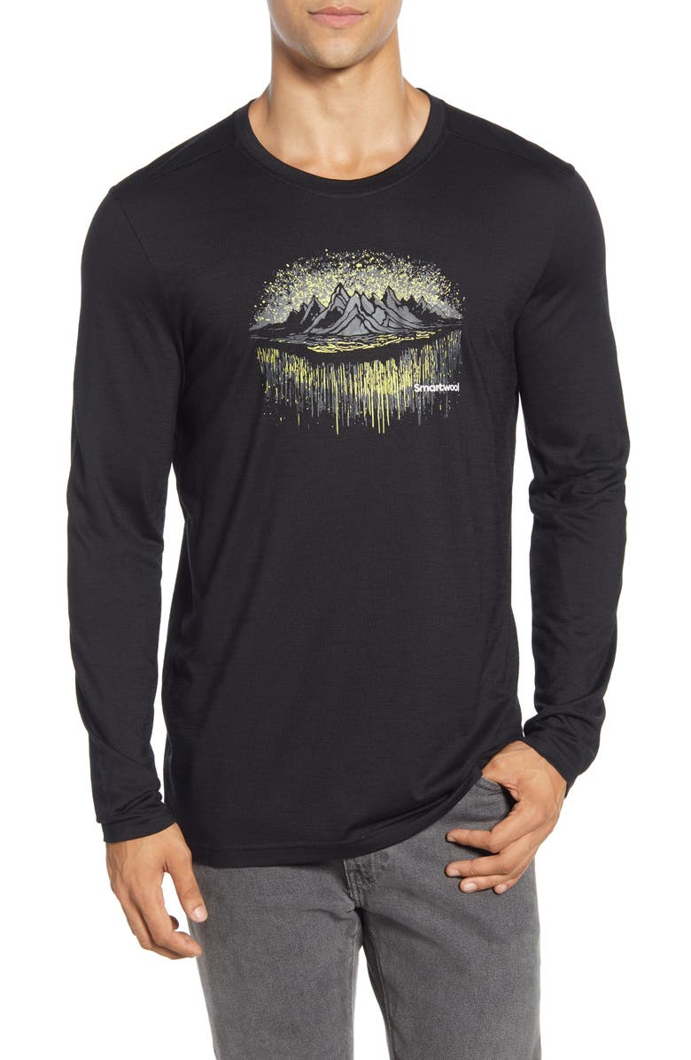 SMARTWOOL Merino Sport 150 MTN Aurora Long Sleeve Graphic T-Shirt, Main, color, BLACK