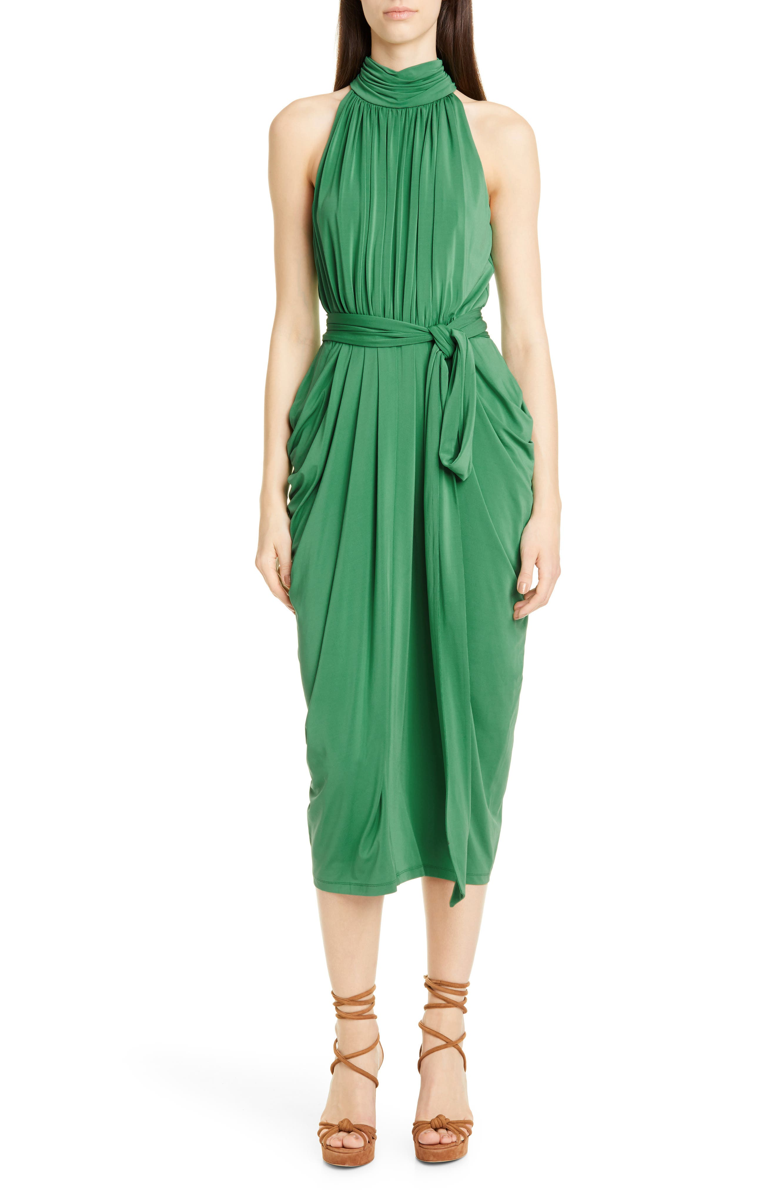 1960s – 70s Cocktail, Party, Prom, Evening Dresses Womens Tommy X Zendaya Halter Neck Drape Midi Dress Size 16 - Green $279.00 AT vintagedancer.com