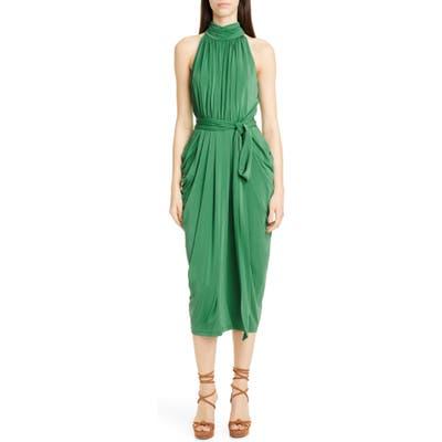 Tommy X Zendaya Halter Neck Drape Midi Dress, Green