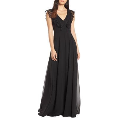 Hayley Paige Occasions Lace V-Neck Chiffon Evening Dress, Black