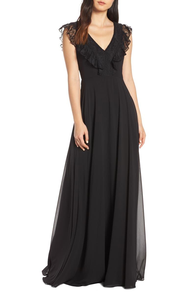 HAYLEY PAIGE OCCASIONS Lace V-Neck Chiffon Evening Dress, Main, color, BLACK / BLACK