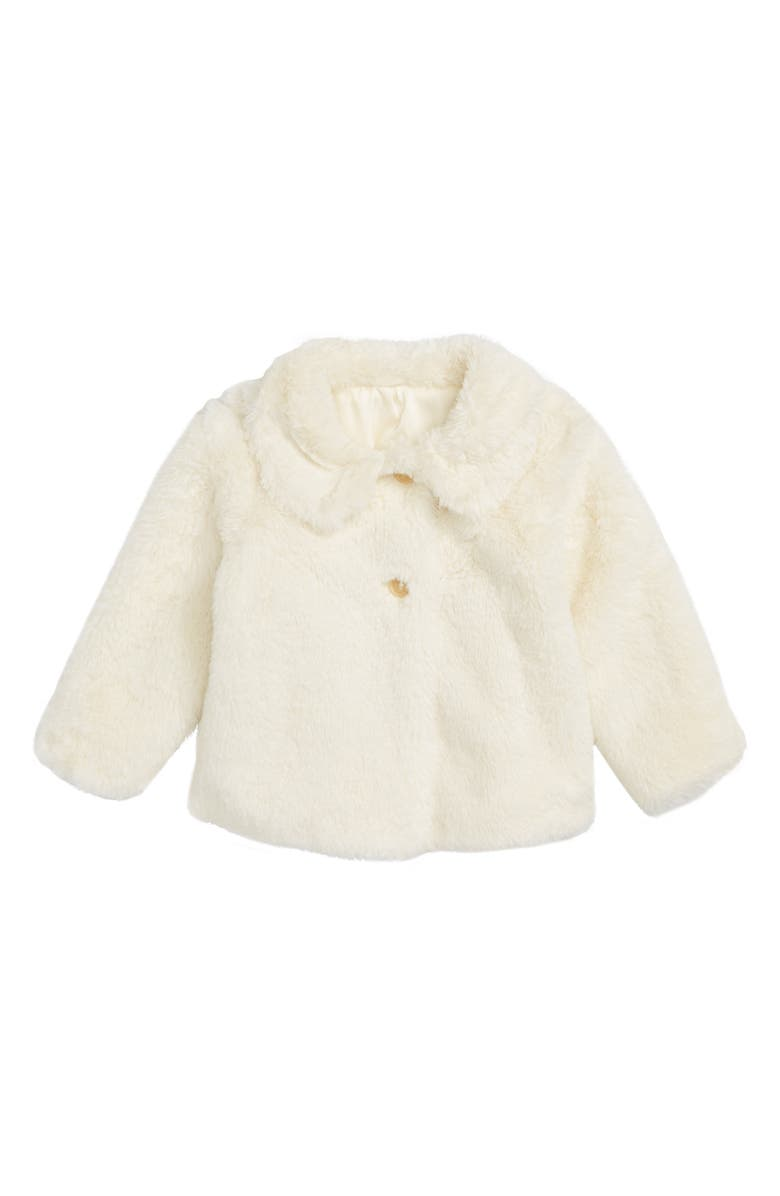 RUBY & BLOOM Cozy Faux Fur Jacket, Main, color, IVORY EGRET