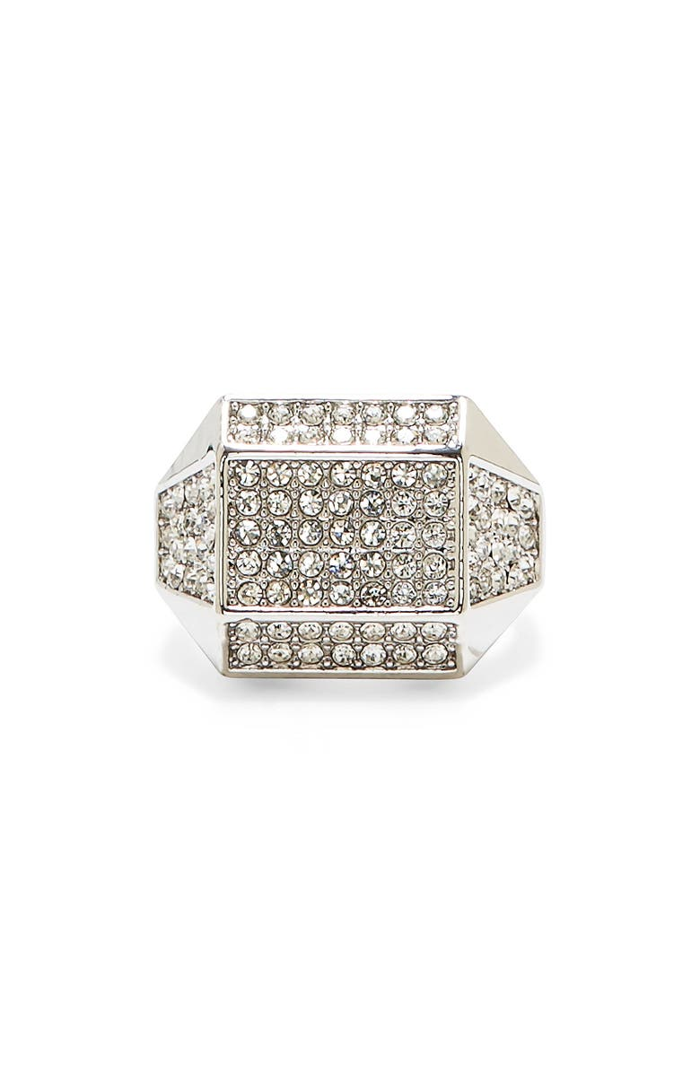 VINCE CAMUTO Geometric Pavé Ring, Main, color, SILVER