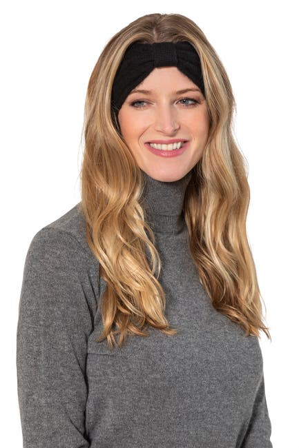 Image of AMICALE Cashmere Cable Bow Headband