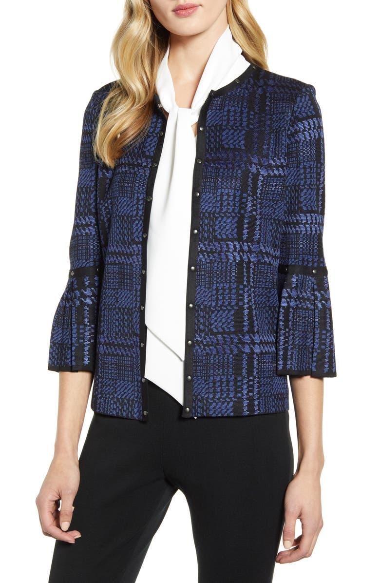MING WANG Stud Trimmed Houndstooth Plaid Jacket, Main, color, SPECTRUM BLUE/ BLACK