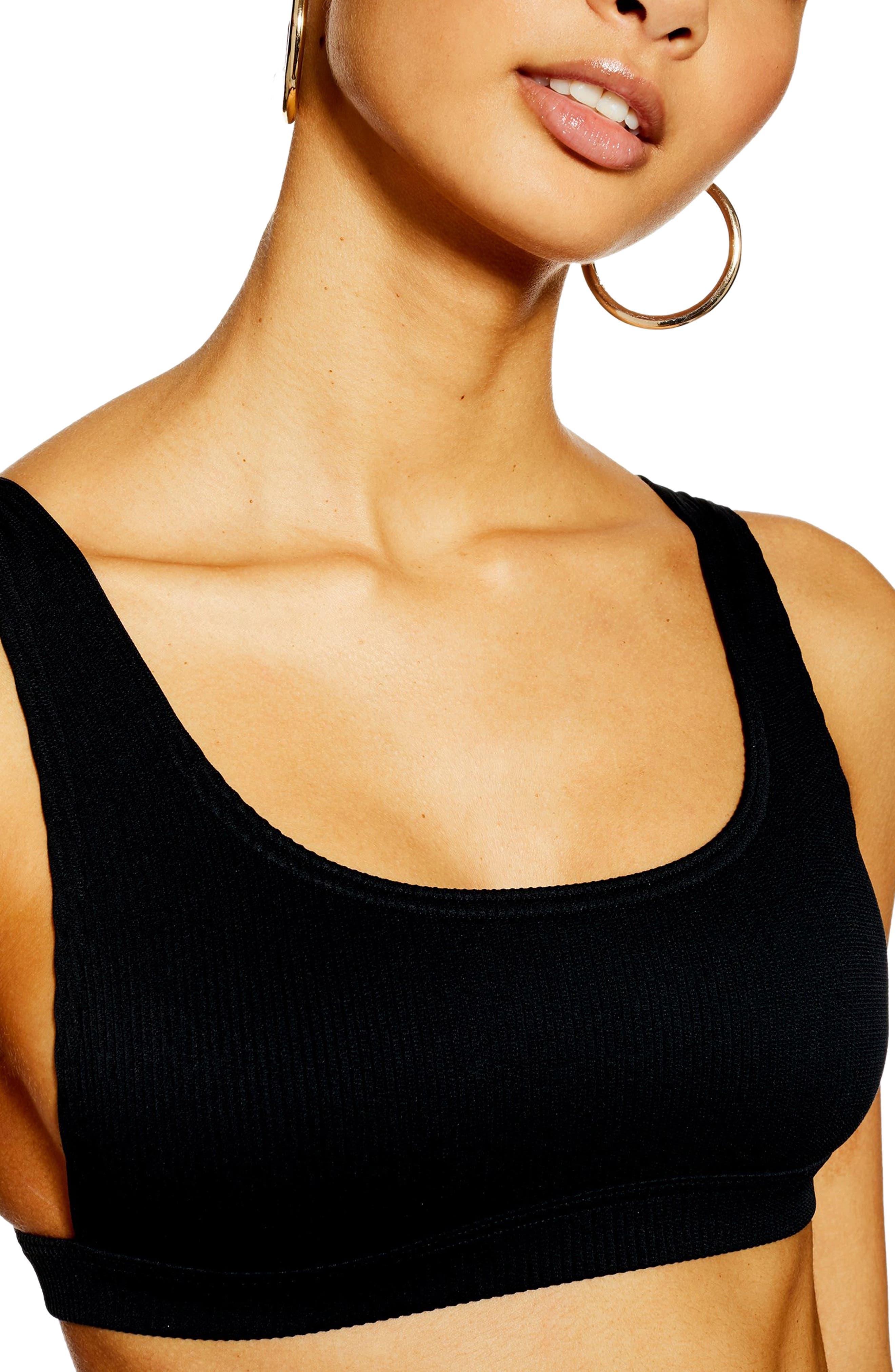 Topshop Crinkle Bikini Top, US (fits like 0-2) - Black