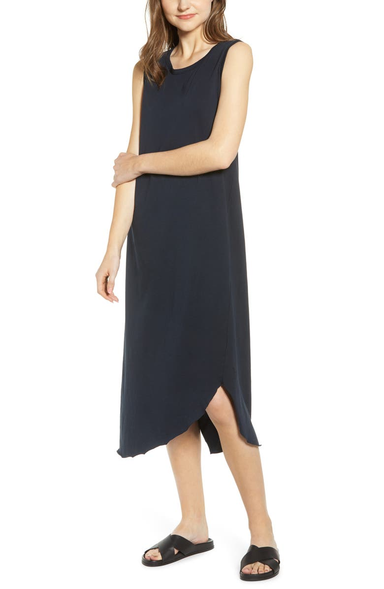 FRANK & EILEEN Relaxed Asymmetrical Hem Tank Dress, Main, color, BRITISH ROYAL NAVY
