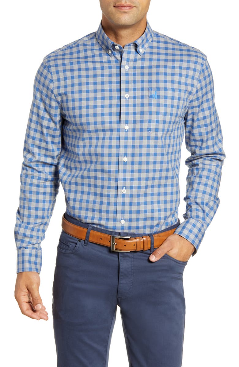 JOHNNIE-O Montana Classic Fit Plaid Button-Down Shirt, Main, color, LAGUNA BLUE