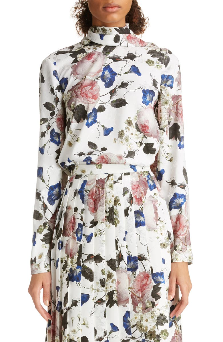 ERDEM Scarf Neck Satin Jacquard Blouse, Main, color, WHITE/ PINK